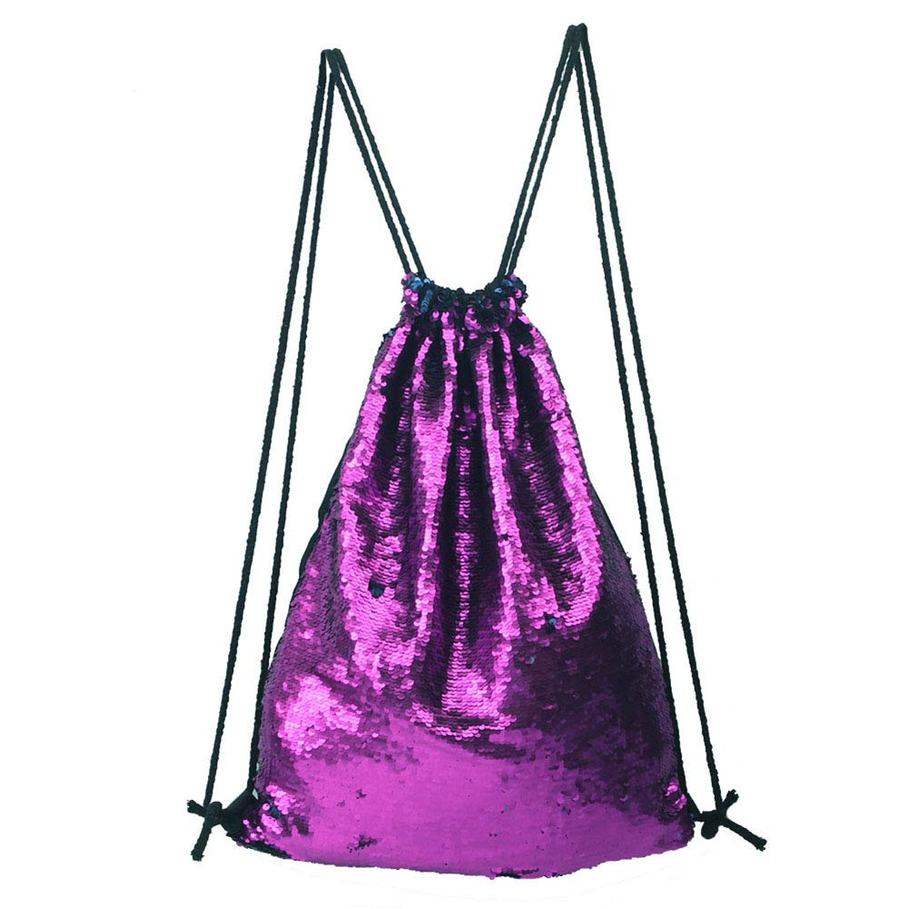 Girls Fashion Simple Large-Capacity Drawstring Bundle Pocket Backpack, New Sequins Girls Casual Sports Travel Shoulder/Backpack, Zippered Pockets Can Be Put Mobile Phone Change, Etc. by Eif