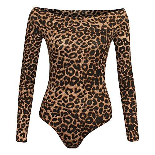 signore Manica Cima Marrone Spalla Leotard Bardot forma Bodysuit Nuovo Leopardo Magra Lungo In Disattivato Cima Janisramone Donna Stampato Le ECwHqH