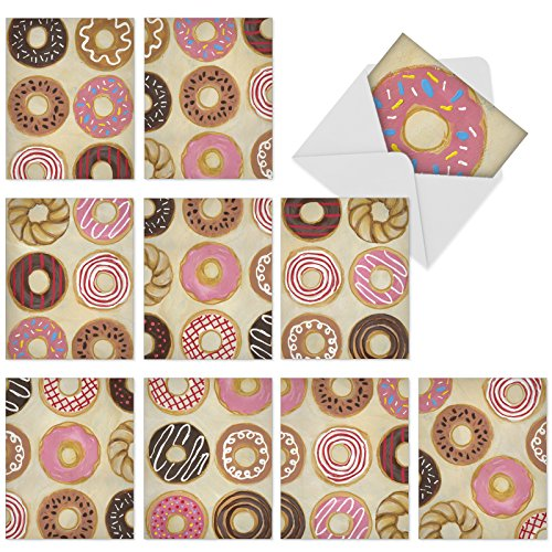 Gratitude and Thank You Cards with Envelopes 4 x 5.12 inch, Box Set of 10 'Time to Send the Donuts' Greeting Cards for All Occasions, Beautiful Hand-Drawn Donut Cover Art ()