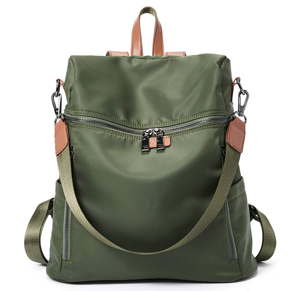 Women Backpack Purse Canvas Fashion Designer Ladies Travel Shoulder Bag army green
