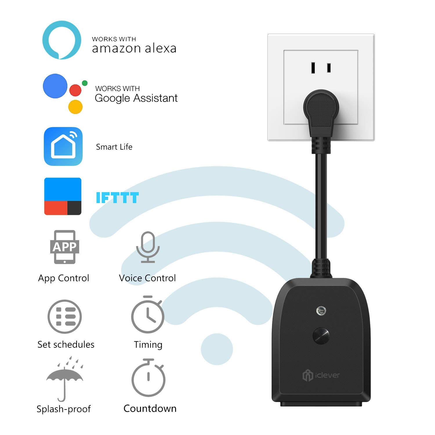 iClever IC-BS06 Wi-Fi Outdoor Smart Plug Socket, Wireless Remote Control Holiday Lights, Timer Outlet, Compatible with Alexa/Google Assistant,Only Support 2.4GHz WiFi
