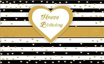 Amazon Com Leowefowa 5x3ft Happy Birthday Backdrop Golden Bokeh Stars On Black And White Stripes Wallpaper Backdrops For Photography Vinyl Photo Background Girls Boys 1st Birthday Studio Props Camera Photo