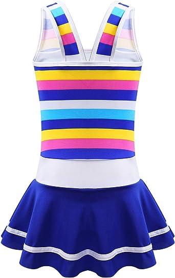 inhzoy Kids Girls Sleeveless Stripe Flowers Applique Cutout Back One Piece Swimdress Leotard Bathing Suit