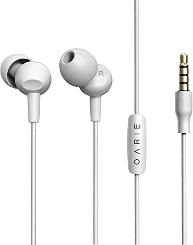 in Ear Headphones, Wired Noise Isolation Earbuds with Microphone and in-line Remote Control, Earphones in Fashion Color Compatible with iPhone iPad Android Smartphones White