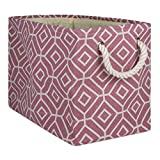 DII Collapsible Polyester Storage Basket or Bin with Durable Cotton Handles, Home Organizer Solution for Office, Bedroom, Closet, Toys, and Laundry, Large - 18 x 12 x 15, Stained Glass Rose