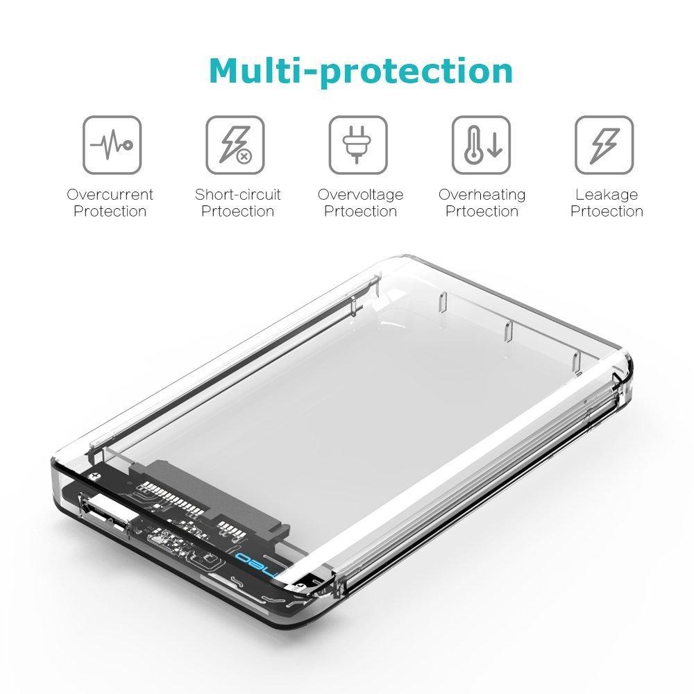 Caja transparente con USB 3.1 para Disco Duro Externo de 2.5 - ElecGear SuperSpeed Carcasa para SATA HDD y SSD, Hard Drive Enclosure adaptador Case, ...