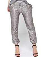 Wiipu Women's Sequins Drawstring Loose Casual Capris Pants Trousers(J694)