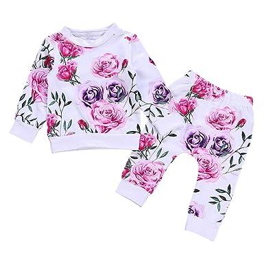 930e3ef309df5 Gyratedream Ensemble Bébé Fille T-Shirt Imprimé de Fleurs + Pantalon 2Pcs  Vêtements Manches Longues Tops Pantalons pour 0-24 Mois Nourrissons   Amazon.fr  ...