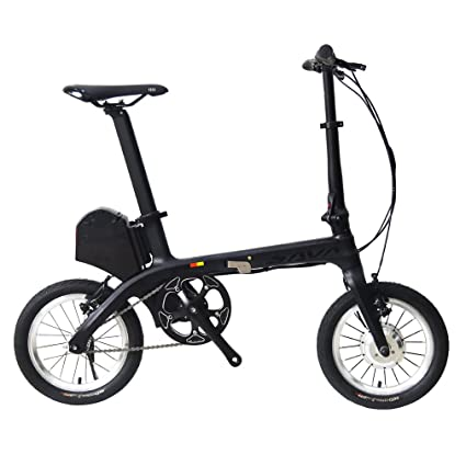 "SAVADECK Carbon Electric Bike, E0 14"" Carbon Fiber Frame Folding Electric Bicycle Fixed Gear"