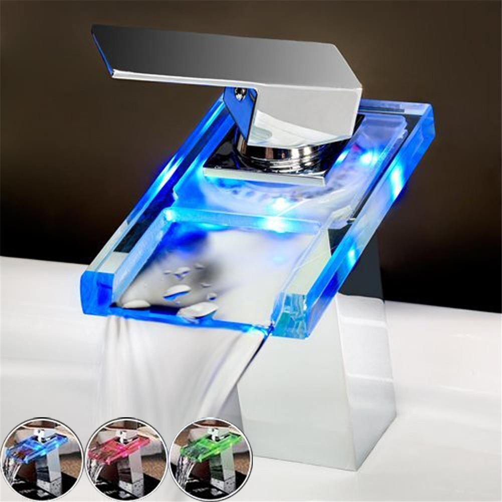 HomJo Luxury Deck Mount Waterfall Basin Faucet LED Color Changing Glass Spout Mixer Tap Chrome Finish