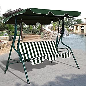 COSTWAY Garden Patio Metal Swing Chair Set 3 Seater Hammock Bench Swinging Cushioned Green & Black (Green)