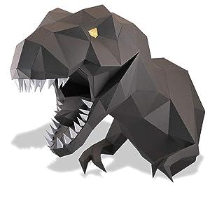 Paperraz DIY 3D Dinosaur Dino Head Animal PaperCraft Building Kit Wall Mount - NO Scissors Needed