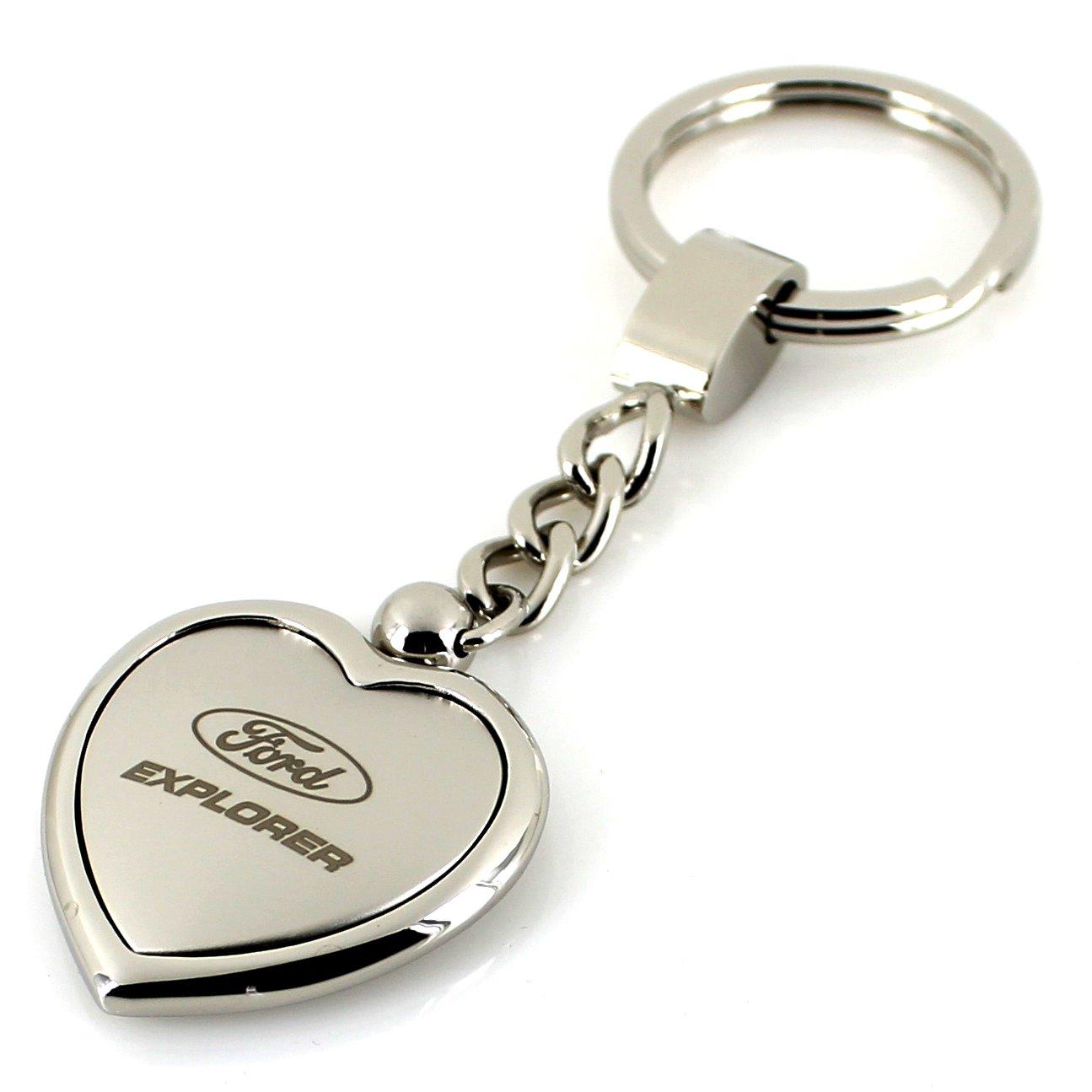 Ford Explorer Satin//Chrome Two Tone Heart Shape Keychain