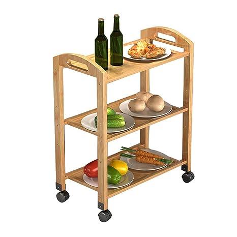 Amazon.com: Carrito de cocina de 3 niveles enrollable ...