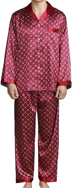 Cromoncent Mens Fall Winter Long Sleeve Checkered Cotton Lounge Sleepwear Pajama Set
