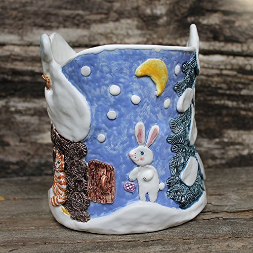winter sculptural ceramic planter christmas tree lavander blue vase plant pot rabbit - Christmas Ceramics