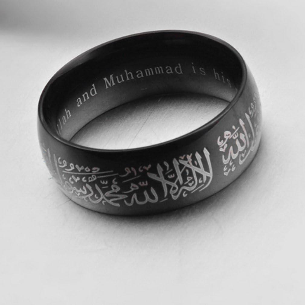Yazilind Acier Titanium Anneaux Noir Islamique Groupe de Mots musulmans Bague Multi Taille facultatif