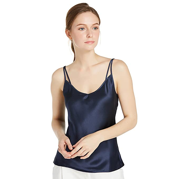 5cca961ed1 LilySilk 22MM Navy Blue Double Strap Silk Camisole Set-XS, Navy Blue