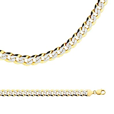 Amazon.com  Solid 14k Yellow   White Gold Chain Cuban Necklace Pave Curb  Links Big Heavy Two Tone 6d873e670a