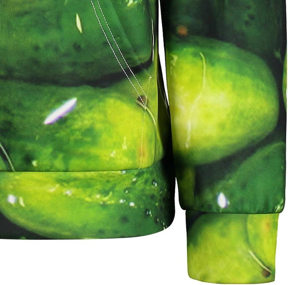 CNSTORE Men Cucumber Print Kangaroo Pocket Hoodie