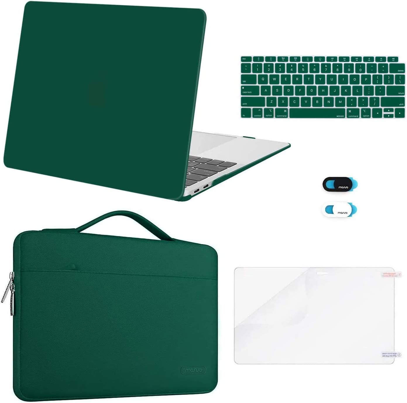 MOSISO MacBook Air 13 inch Case 2020 2019 2018 Release A2337 M1 A2179 A1932,Plastic Hard Case&Bag&Keyboard Skin&Webcam Cover&Screen Protector Compatible with MacBook Air 13 inch Retina, Peacock Green
