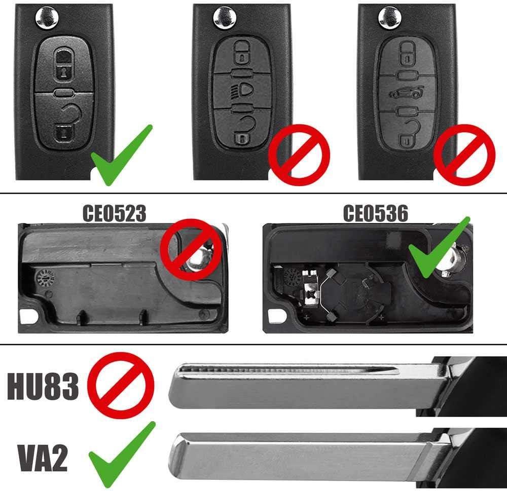 Ociodual Ce0536 Va2 2 Tasten Autoschlüssel Gehäuse Elektronik