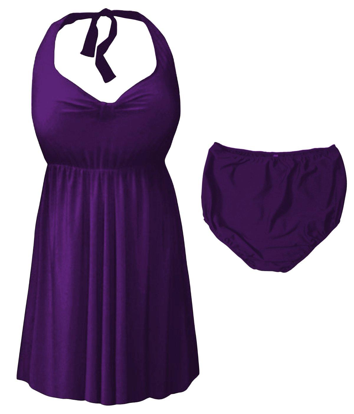Sanctuarie Designs Purple 2 Piece Halter Style Plus Size Swimdress 1xT