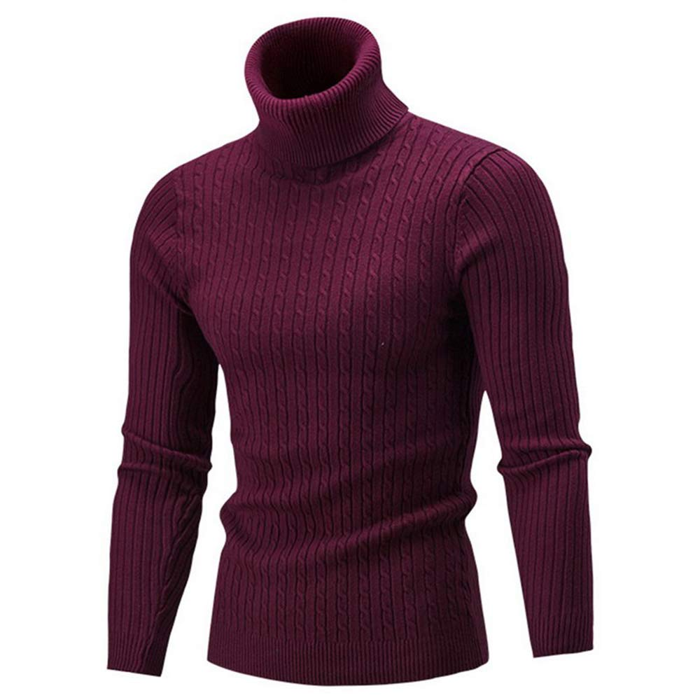 Sevem-D Autumn Winter Men's Sweaters Male Turtleneck Solid Color Sweater Men's