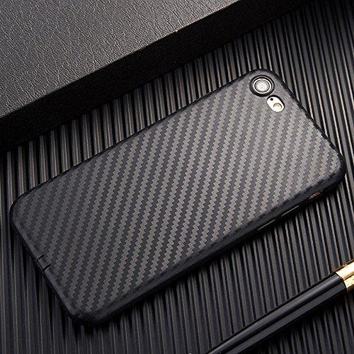 Apple iPhone Slim Thin Carbon Fiber TPU Soft Phone Case Cover Back Skin (Black iPhone 8 7 4.7