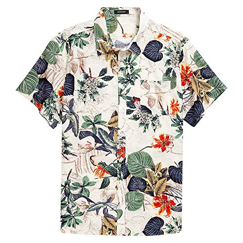 - Men's Hawaiian Short Sleeve Shirt- MCEDAR Aloha Flower Print Casual Button Down Standard Fit Beach Shirts With Pocket (L, White)