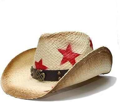 SXBag Women Men Straw Western Cowboy Hat with Punk Money Band Star Lady Dad Sombrero Hombre Cowgirl Jazz