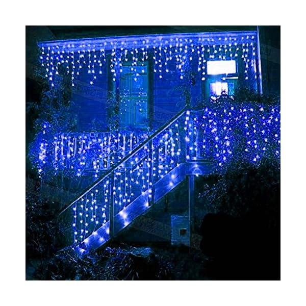 LED Tenda Luminosa, Catena Luminosa, Luci cascata, Luci per Tende, 216 LEDs 5M Natale Luci Stringa Bianco Caldo 8 Modalità Impermeabili IP44, per Natale finestra, porta, patio, giardino, feste, Blu 1 spesavip