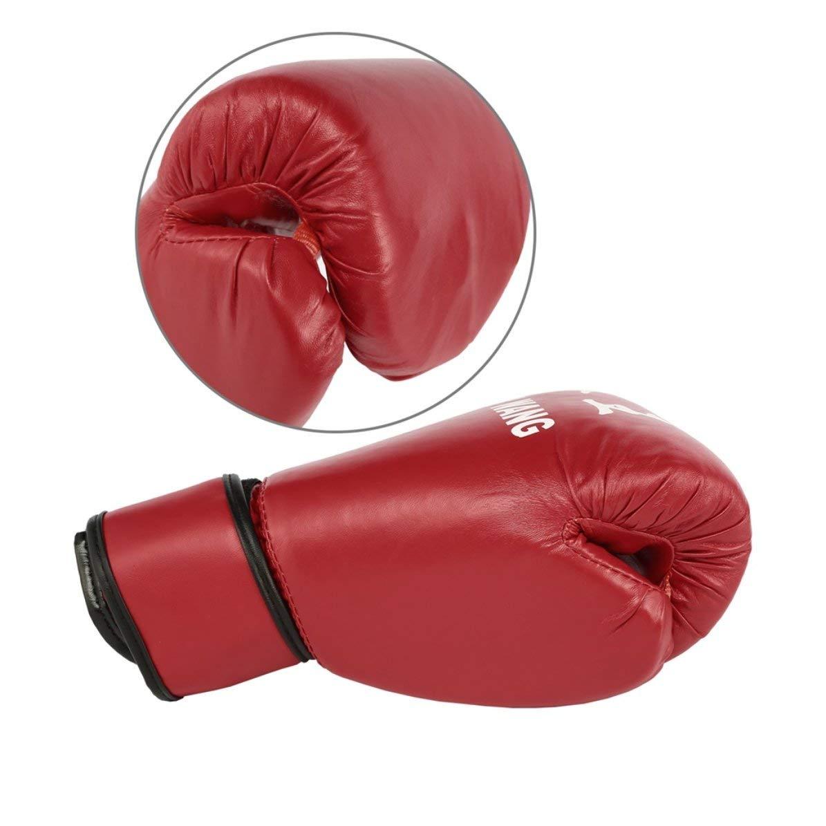 Guantes de Boxeo para Adultos Rojos y Negros Guantes de Saco de Arena Profesionales Guantes de Kickboxing Pugilismo Hombres Mujeres Entrenamiento Herramienta de Lucha Rojo WEIWEITOE