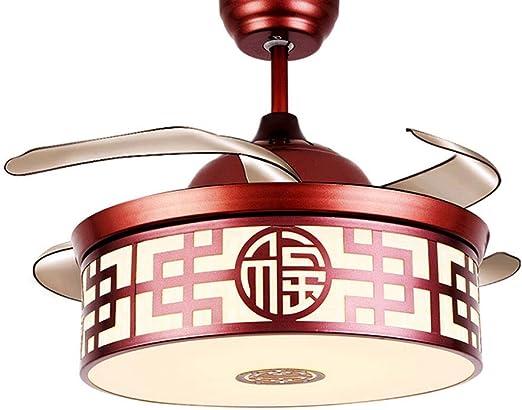 WPCBAA Ventilador de techo de 42 pulgadas Luz de hierro chino ...