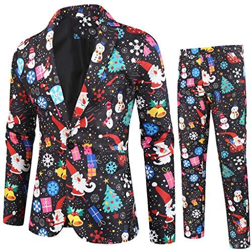 Christmas Suit Men Jacket, Pants Two Set Long Sleeve Christmas Prom Dress Costume Jacket Suit Pants