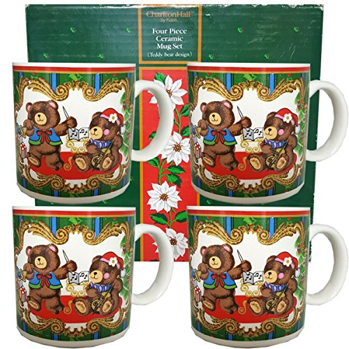 Charlton Hall by Kobe Four Piece Ceramic Mug Set (Teddy Bear - Charlton Hall