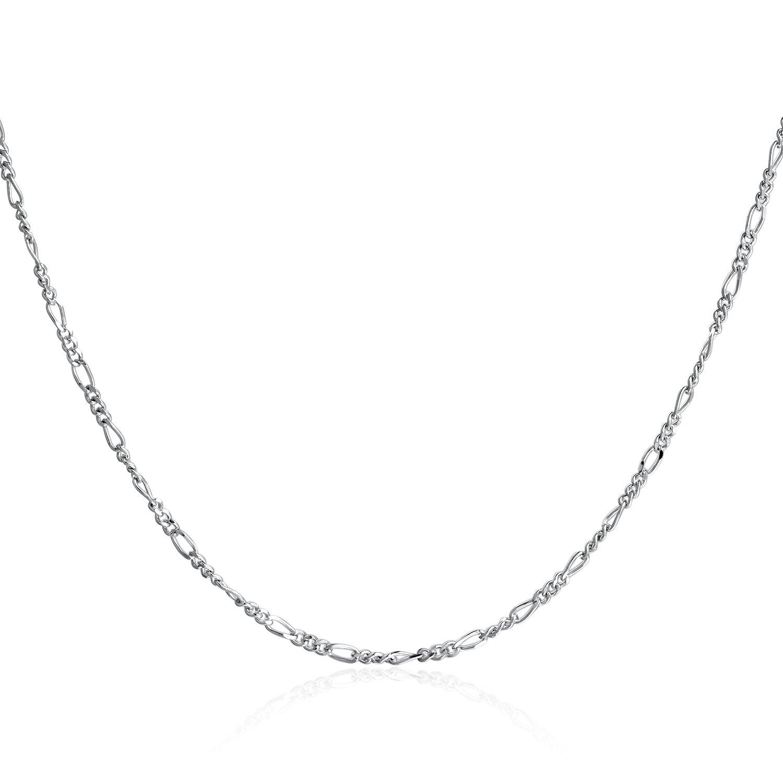 SILBERTALE 1.5mm 925 Sterling Silver Italian Figaro Chain Necklace 14-30 inch for Women Girls