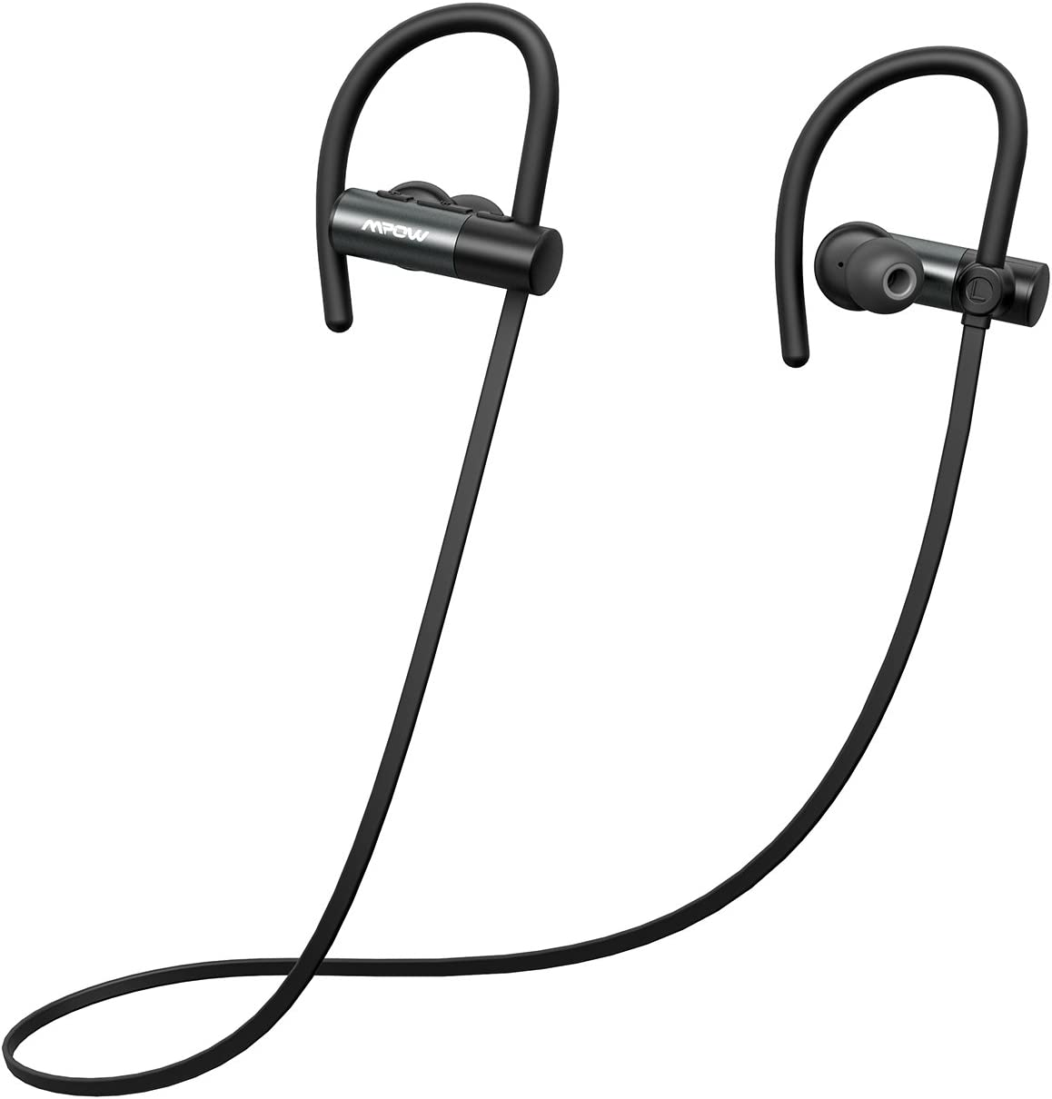 Mpow D4 Bluetooth Headphones, IPX7 Waterproof Sports Earphones w Mic, HD Sound, 8 Hours Playtime, Secure Comfort Fit Metal Earbuds for Running, Jogging, Cycling, Exercising, Black