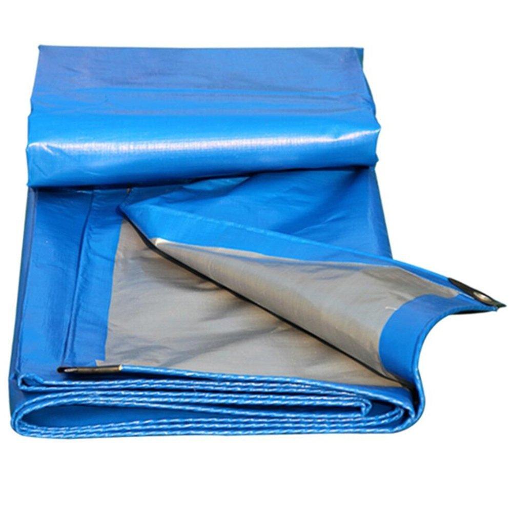 MDBLYJWinddichtes und kaltes Tuch Sonnenschutztuc Plane, PET-Starke Wasserdichte dauerhafte LKW-Plane des Sonnenschutzes, Hochtemperaturanti-Altern, Blau + Silber