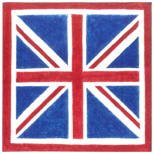 Lunch Luncheon Napkins Union Jack Flag 40 count Caspari -