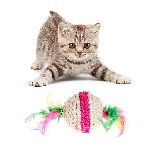 Juguete para gatos YFairy - Pelota de plumas de sisal para ...