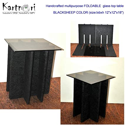 KartnOri Women s handcrafted WENGE FOLDABLE BROWN GLASS TOP side table for  bedroom drawing dining 5f4305c93