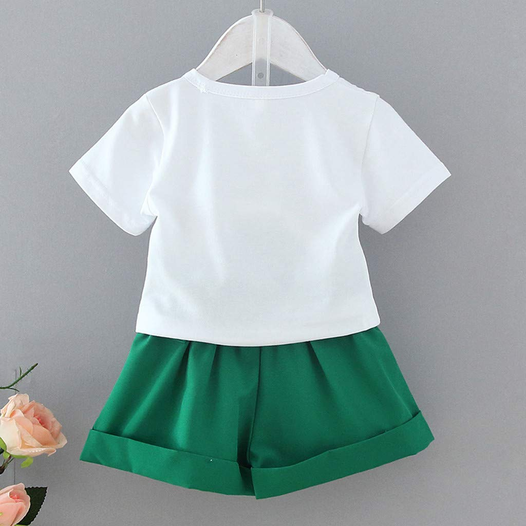 Womola 2PCS Toddler Kids Baby Girl Clothes Outfit Short Sleeve Watermelon Letter Print Top t-Shirt Bowknot Shorts Set