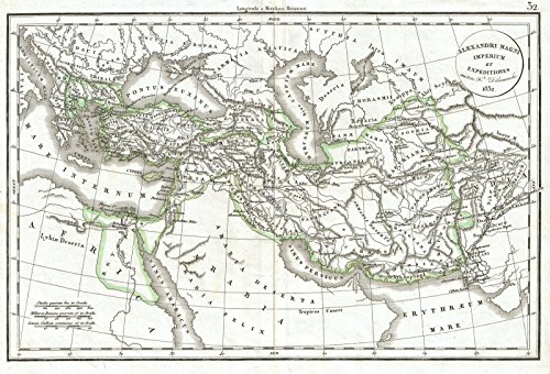 Historical 1832 Delamarche Map of the Empire of Alexander the Great | 16 x 24in Fine Art Print | Antique Vintage (Delamarche Map)