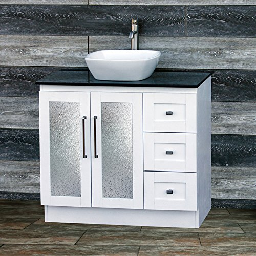 "36"" Bathroom Solid wood Vanity Cabinet Black Granite Top Vessel sink B3621WL-BK"