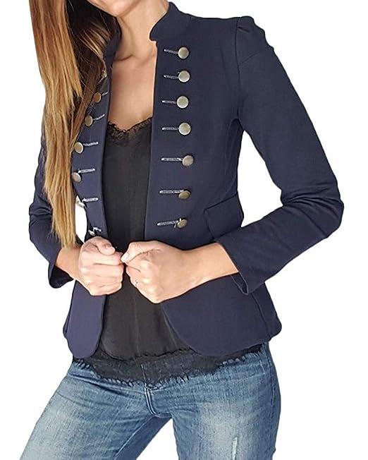 8eaa7518862 Tomwell Chaqueta de Traje Mujer Manga Larga Abrigo Traje Slim Blazer OL  Mujeres Botón de Metal Outwear  Amazon.es  Ropa y accesorios