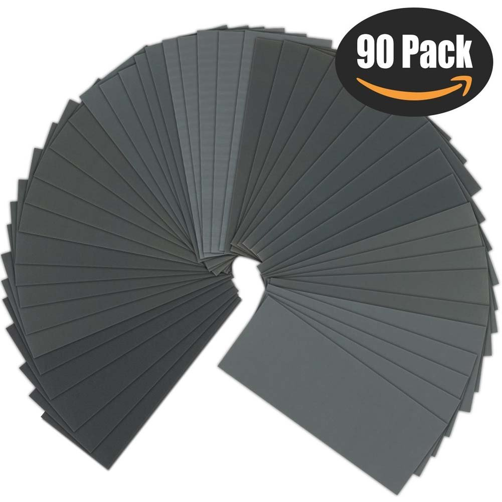 Sandpaper, 400 to 3000 Grit, VOKIT Wet and Dry Waterproof Sanding Paper Assortment Set 9x3.6 inch for Automotive Sanding, Wood Furniture Finishing, Wood Turning Finishing