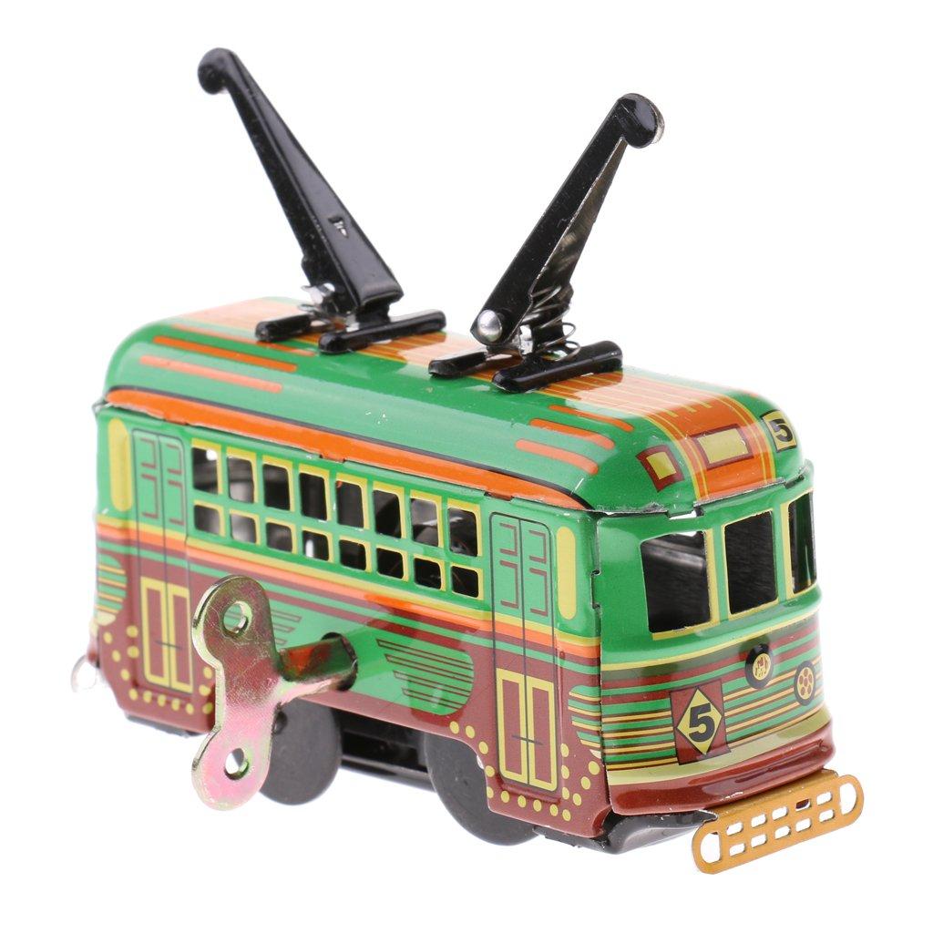 Dovewill Classic Wind Up Tram Trolley Car Model Tin Toy Clockwork Kids Toy Xmas Gift Desktop Decoration