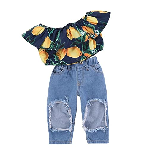 368b2101003336 Fabal Baby Girls Lemon Printed Tops Denim Pants Clothes Outfit Set (2 Years  Old)