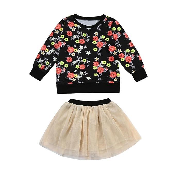 ❥Elecenty Bekleidungssets Prinzessin Baby Kleid, Mädchen Outfit Kleider  Kleinkind Blumenmuster T-Shirt Tops+Tutu ... 6115188d56